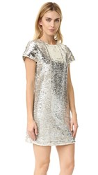 Rebecca Minkoff Lynx Sequin Dress Gold Silver