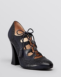 Tory Burch Lace Up Ghillie Oxford Pumps Astrid High Heel Navy