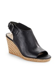 Via Spiga Open Toe Espadrilles Wedge Sandals Black