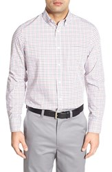 Nordstrom Men's Men's Shop Smartcare Regular Fit Wrinkle Free Tattersall Sport Shirt White Red Ribbon Tattersal