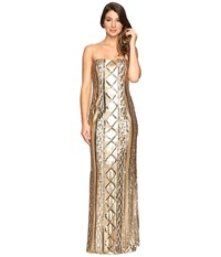 Adrianna Papell Strapless Cable Sequin Gown Gold Women's Dress