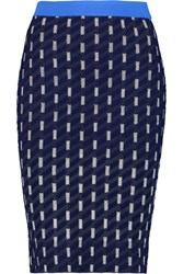 Jonathan Simkhai Jacquard Knit Pencil Skirt Navy