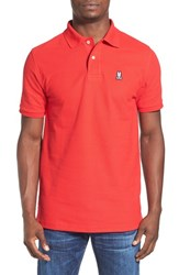 Psycho Bunny Men's Pique Knit Polo Brilliant Red