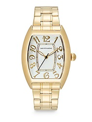 Saks Fifth Avenue Stainless Steel Oval Dial Watch Gold White