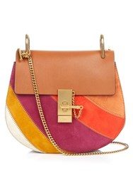 Chloe Drew Small Suede And Leather Shoulder Bag Tan Multi