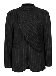 Topman Rogues Of London Black And Silver Pinstripe Blazer