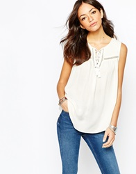 New Look Sleeveless Lace Insert Peasant Top Winterwhite