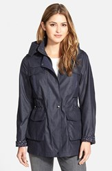 Women's Laundry By Design Waxed Field Jacket With Detachable Hood Deep Navy