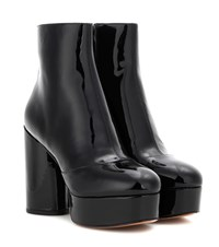 Marc Jacobs Patent Leather Platform Ankle Boots Black