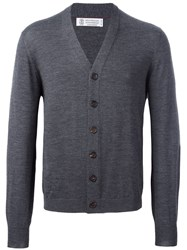 Brunello Cucinelli V Neck Cardigan Grey