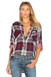 Bella Dahl Rosslyn Double Plaid Pullover Button Down Burgundy