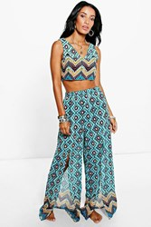 Boohoo Zig Zag Tile Print Trouser Co Ord Set Blue