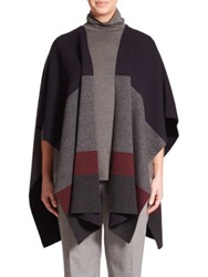 Marina Rinaldi Plus Size Afelio Colorblock Shawl Poncho Dark Grey