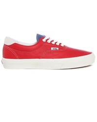 Vans Red Era Vintage Sport Leather Sneakers With Blue Contrast