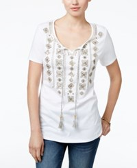 Jm Collection Embroidered Peasant Top Only At Macy's Bright White