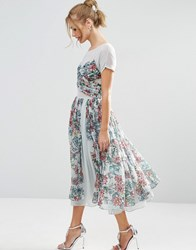 Asos Salon Soft Floral Midi Prom Dress Blue