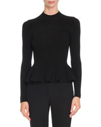Givenchy Ribbed Knit Peplum Top Black