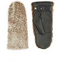 Rag And Bone Women's Shearling Leather Mittens Nude