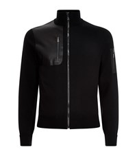 Ralph Lauren Leather Panel Cardigan Male Black