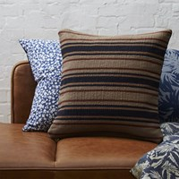 Cb2 The Hill Side Workwear Blanket Stripe Dhurrie 18'' Pillow With Feather Down Insert