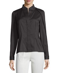 Lafayette 148 New York Demi Striped High Low Blouse Black