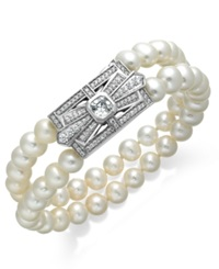Arabella Bridal Cultured Freshwater Pearl 6 1 2Mm And Swarovski Zirconia 2 3 4 Ct. T.W. Two Row Bracelet In Sterling Silver