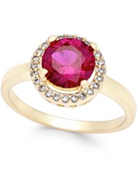 Charter Club Gold Tone Red Stone Pave Ring Only At Macy's