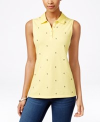 Charter Club Sleeveless Anchor Embroidered Polo Shirt Only At Macy's Sun Yellow