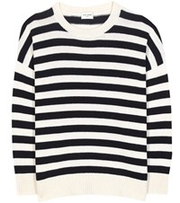 Saint Laurent Striped Cashmere Sweater White