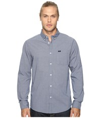 Rvca That'll Do Micro Long Sleeve Inmate Blue Men's Clothing White