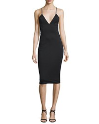Alexander Wang Fitted High Lux Ponte Midi Dress Black
