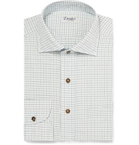 Drakes White Windowpane Check Cotton Poplin Shirt Blue