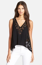 Plenty By Tracy Reese 'Sand' Lace Combo Tank Black