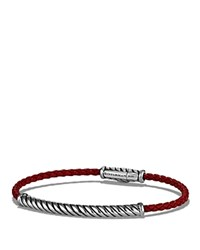 David Yurman Cable Leather Bracelet In Red Red Silver
