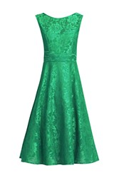 Jolie Moi Lace Bonded Fit And Flare Dress Green