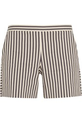 Tory Burch Marit Striped Cotton Blend Shorts Off White