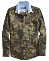 American Rag Men's Contrast Collar Camo Long Sleeve Shirt Only At Macy's Olive Mist