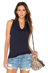 Bobi Light Weight Cashmere Terry Cowl Neck Tank Navy
