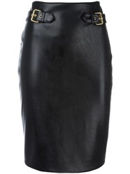 Moschino Leather Look Pencil Skirt Black