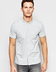 Selected Homme Polo Shirt With Full Length Placket Grey