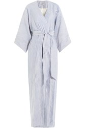 Three Graces London Striped Robe With Cotton Silk And Linen Stripes