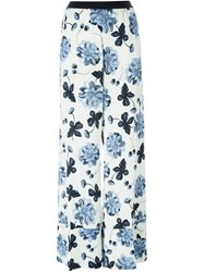 Twin Set Floral Print Palazzo Trousers White