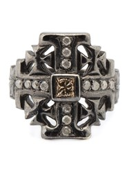 Loree Rodkin Small Maltese Cross Diamond Ring Metallic