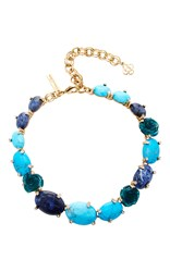 Oscar De La Renta Semi Precious And Resin Rose Necklace Blue