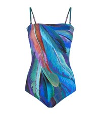 Gottex Feather Print Bandeau Swimsuit Female Multi