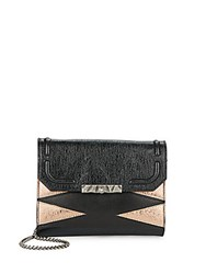 Dannijo Beckett Leather And Metallic Clutch Nero Rose Gold