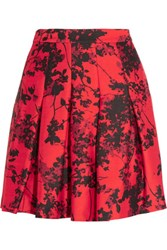 Diane Von Furstenberg Gemma Floral Print Wool And Silk Blend Twill Mini Skirt Red