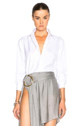 Anthony Vaccarello Long Sleeve Cropped Shirt In White