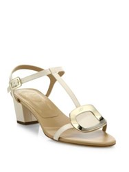 Roger Vivier Chips Leather T Strap Sandals Off White