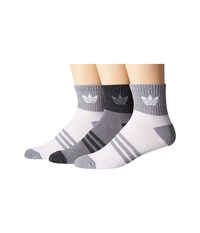 Adidas Originals Cushioned Quarter 3 Pack Socks White Grey Men's Crew Cut Socks Shoes